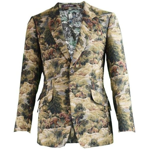 Preowned Paul Smith Mainline Rare Mens Woven Tapestry Western Print... ($468) ❤ liked on Polyvore featuring men's fashion, men's clothing, men's sportcoats, blazers, brown, mens single breasted blazer, mens slim fit blazers, paul smith mens clothing, mens party wear blazers and mens blazers