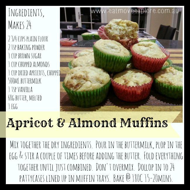 Delicious Apricot & Almond Muffins  www.eatmoveexplore.com.au #muffins #lunchbox ideas