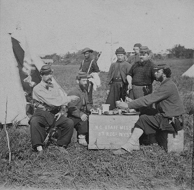 """saved to The Civil War """"Men Dining On Box"""" Soldiers of the 5th New York (Duryee's Zouaves) at Fortress Monroe. New York Historical Society. 4y"""
