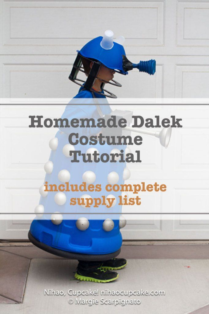 How to make a Dalek Costume tutorial with step-by-step instructions - includes a complete supply list. It's a must pin for all Dr Who fans! Check it out.