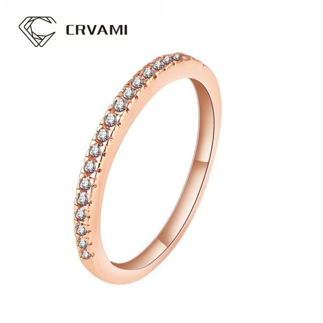 CRVAMI Anel, simples Projeto 18 K Rose Banhado A Ouro AAA CZ de Diamante Anéis de Dedo Para As Mulheres Da Moda Anéis de Noivado Casamento Jóias
