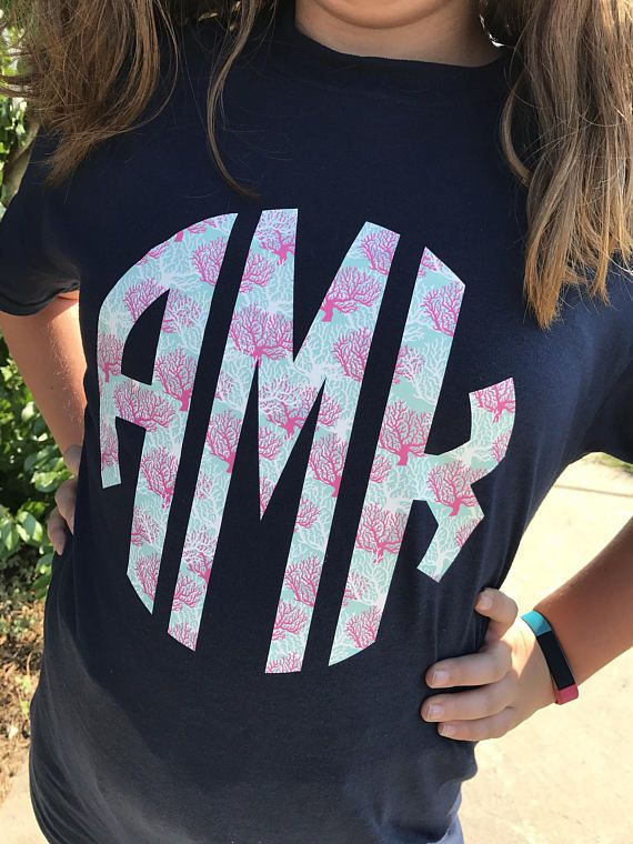 Coral Print Vinyl Monogram Shirt Adult Short Sleeve Monogram