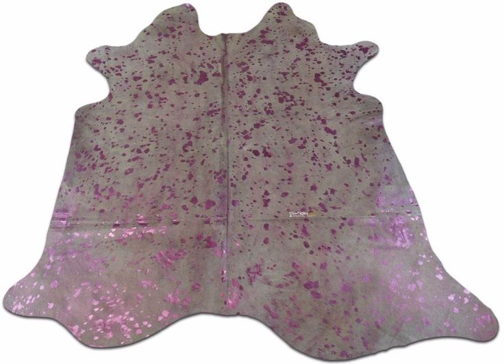 Pink Metallic Cowhide Size: 7.4 X 7 ft Pink Metallic on Off-White Cow Rug j-449 #cowhidesusa #Contemporary
