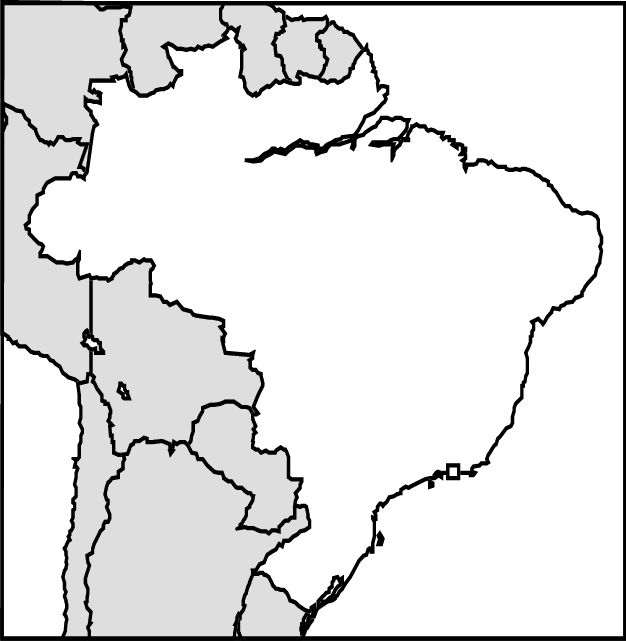 Blank map to color or label brazil pinterest for Brazil map coloring page