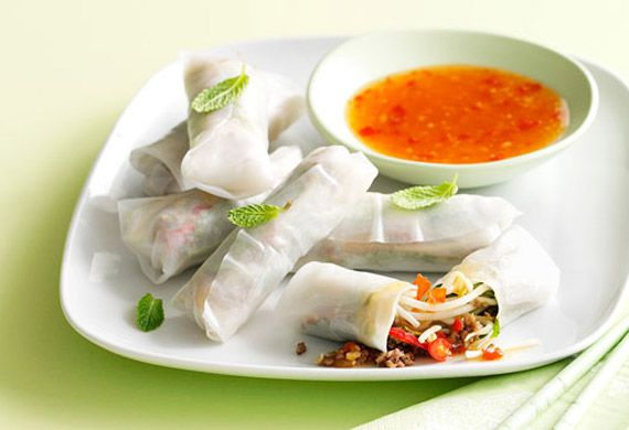lemon grass and beef rice paper rolls