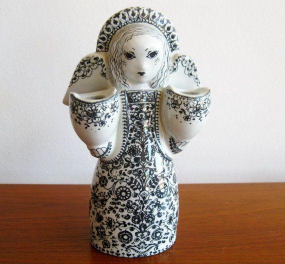 Vintage Nymolle Denmark Ceramic Angel Candle Holder Figurine