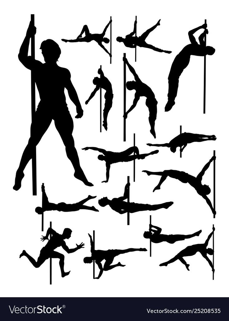 Download Male pole dance detail silhouette Royalty Free Vector ...