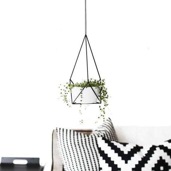 Himmeli Hanging Planter with Cup | Small Modern Plant Hanger | Geometric Terrarium | Minimalist Home Decor