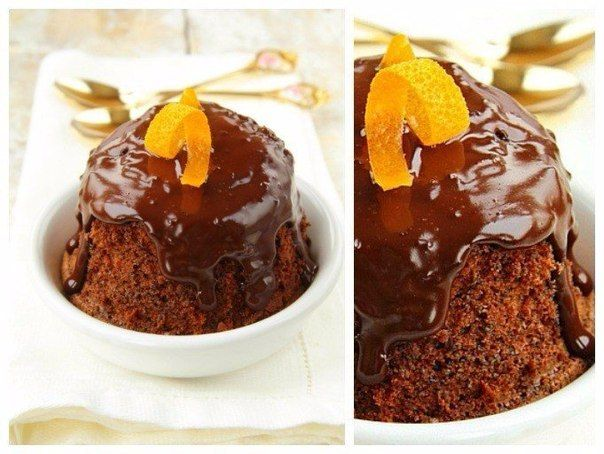 Orange-chocolate cake in a mug