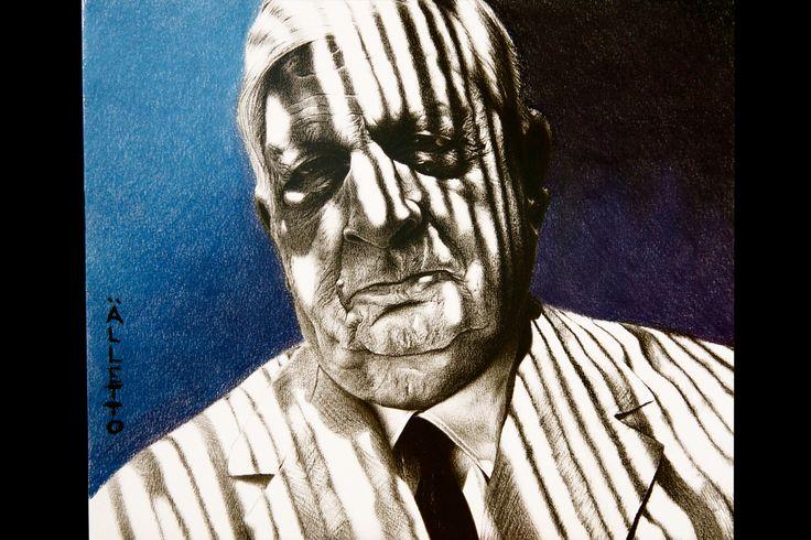 Portrait of Giorgio de Chirico  (pencil and pastel on paper)
