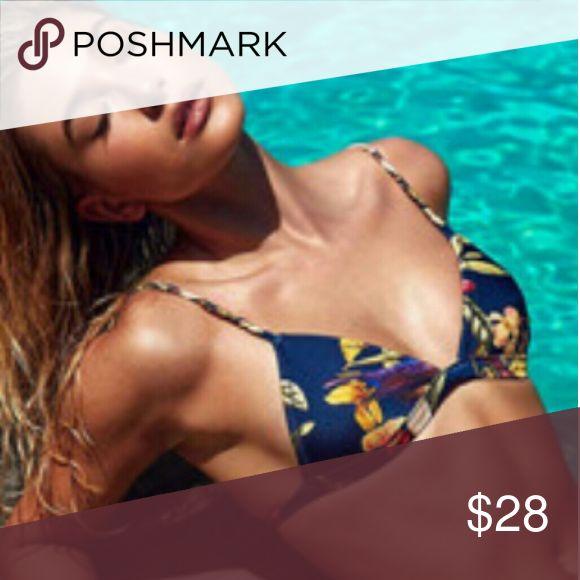 Gorgeous multi color Bikini Multi color, floral triangle, bikini top with Brazilian bottoms. Top is a small, bottoms are large Swim Bikinis