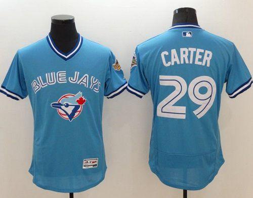 cheap for discount ceb8c a90b9 Blue Jays #29 Joe Carter Light Blue Flexbase Authentic ...