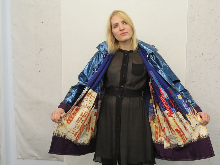 CQ Staffer Karen wears an NYC Boutique Raincoat with Alexander Henry print lining the interior.
