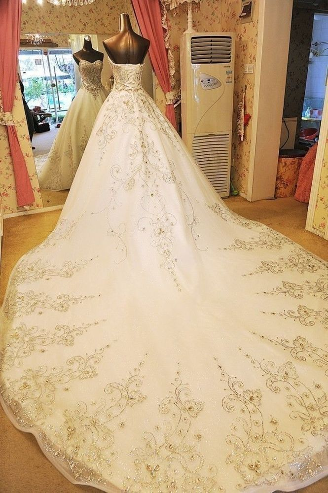 Sweetheart Luxury customed crystals cathedral train wedding bridal dress gown  | Clothing, Shoes & Accessories, Wedding & Formal Occasion, Wedding Dresses | eBay!