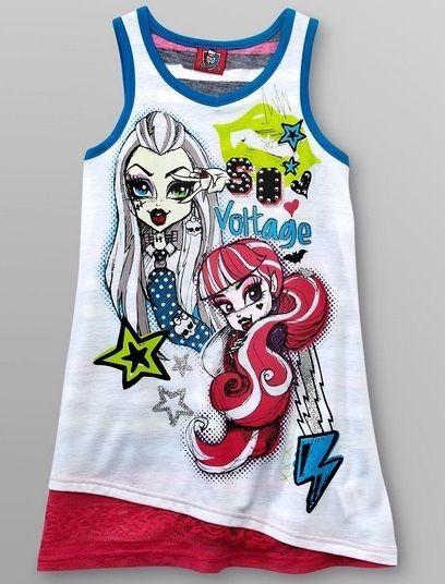 MONSTER High Tank Top Shirt Girl's 10/12 Glitter Lace NeW Draculaura Frankie #MonsterHigh #TankTop #Everyday