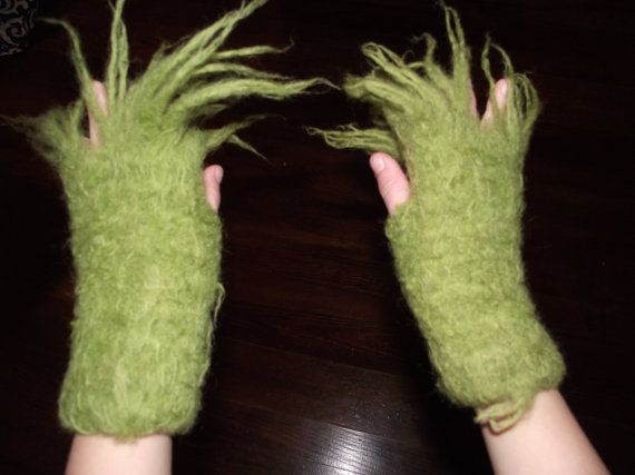 For Hugo: MENS Grinch Hands Fingerless Gloves  Request yours by czappit, $30.00
