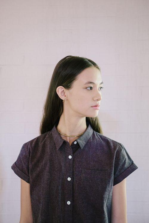 grey short sleeve button up shirt