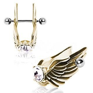 Gold-Plated Feathered Angel Wings with Gem Cartilage Earring   Show off some heavenly style with this stunning Winged Cartilage Earring. Stun all those that pass with this polished metal design, crafted out of high quality 316L Surgical Steel, the Earring features an elaborate set of wings. Multiple layers of feathers are intricately detailed and lead to an eye-catching large 7mm Cubic Zirconium gem. Wear this Earring from a 16 GA 316L Surgical Steel Bar. Also available in all 316L Surgical…