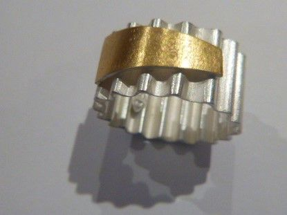 Felicity Peters  Ring corrugated with 24ctg gold dash