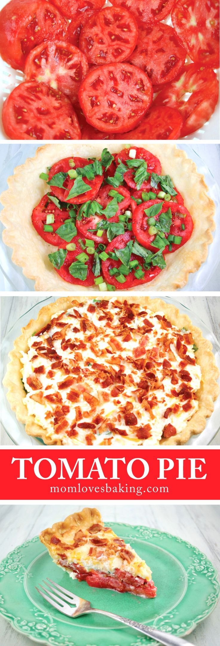The simple ingredients make it total comfort food. Fresh tomatoes, green onions, and fresh basil create the first layer; topped with cheddar cheese, mozzarella cheese, mayonnaise and bacon. All in a basic pie crust and baked for 30 minutes. So good!
