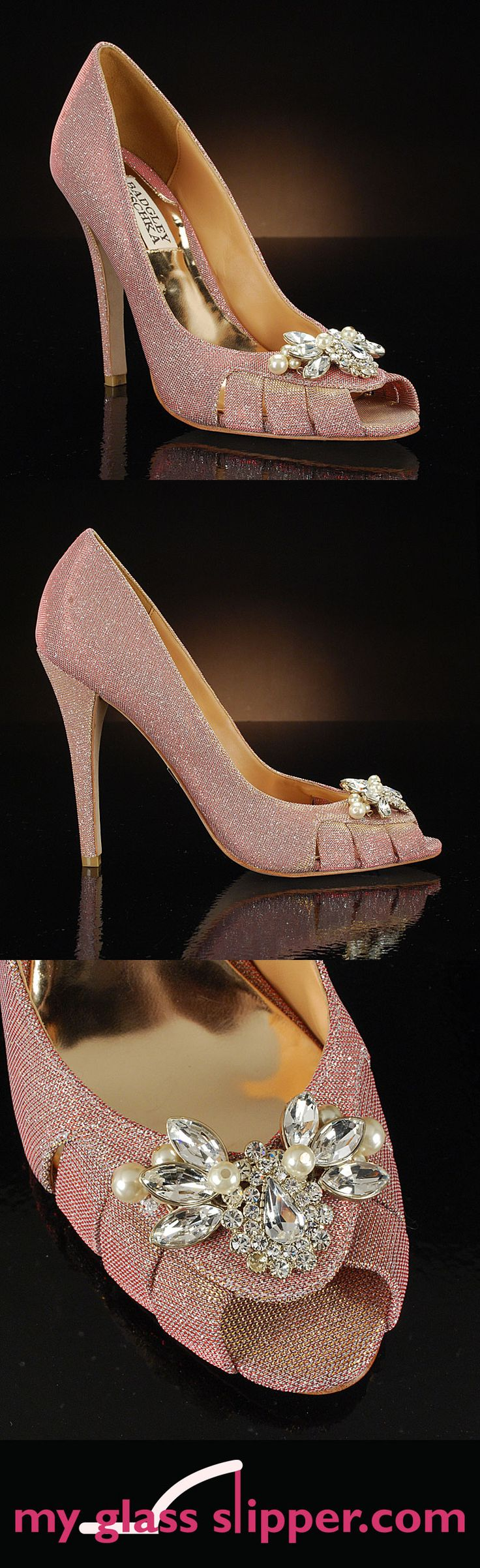 MONIQUE in ROSE GOLD by BADGLEY MISCHKA: A hint of blush pink and a hint of gold shimmer combine to make a glamorous, elegant sparkly wedding shoe. Rose gold wedding shoes are a chic trend not to be missed! Feminine and elegant. $265     http://www.myglassslipper.com/wedding-shoes/badgley-mischka/monique-rose-gold-7941