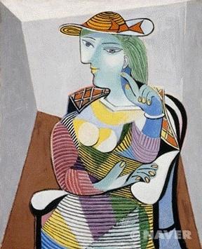 피카소, 마리 테레즈 발테르의 초상, 1937    44세인 피카소가 만난 17세의 연인. 화려하고 감각적인 색채, 부드러우면서도 생동감 넘치는 곡선 등으로 신비하고도 초월적인 '여인의 미(美)'를 표현하였다.  현대 미술로 넘어오면서 피카소의 작품들은 난해한 모습을 많이 갖고 있다. 이는 불안정한 사회 속에서 탄생했을 것이라 생각한다. 피카소가 이 그림을 그리기 직전인 1935년엔 첫 번째 부인인 올가와의 이혼 소송으로 인해 심리적으로 매우 불안한 상태였다.    1936년 스페인 내전이 발발하면서 이런 내적 갈등과 불안감을 더욱 심해지는데 연인을 다시 만나며 따뜻한 분위기의 초상화를 나타내었던 것 같다. 그림을 통해서 심리적으로 안정감을 취하고 불안한 현실로부터 벗어날 수 있었을 것이라 생각한다.     그 동안 피카소의 작품은 '신기하다'라는 감정만 느낄 수 있었지만 그 배경 속의 작품을 바라보니 따뜻함과 애틋함도 느껴진다.