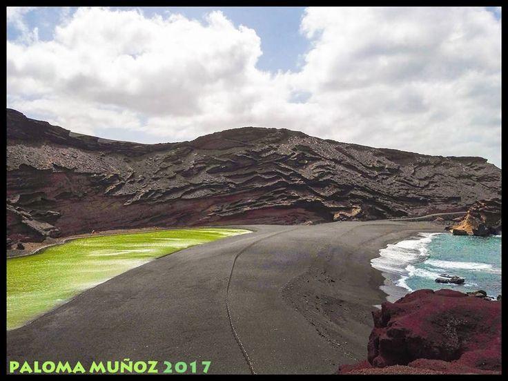 El Charco Verde, lago Verde, Charco de los Clicos o laguna de los Clicos,  en el Parque natural de los Volcanes en El Golfo, Yaiza,  Parque Nacional de Timanfaya,  Lanzarote, Islas Canarias, Charco Verde, Lago Verde, Charco de los Clicos or Laguna de los Clicos, is a lagoon included in the Volcanes Natural Park, which is located next to the population of El Golfo, Yaiza Municipality, within the scope of the national park of Timanfaya of the island of Lanzarote, in the Canarian archipelago…