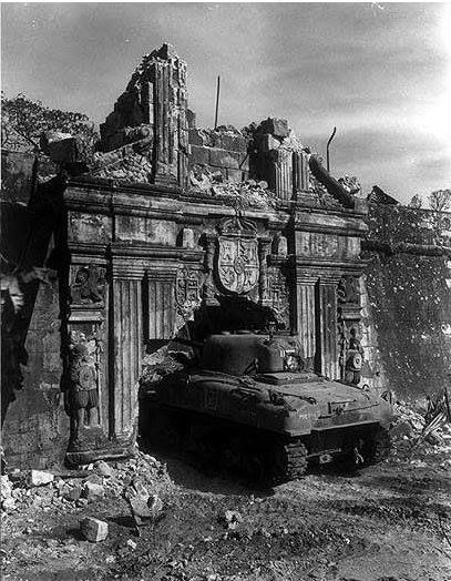 US Army Sherman tank at Santa Lucia gate, Intramuros, Philippines 28 February 1945.  #tanks #worldwar2