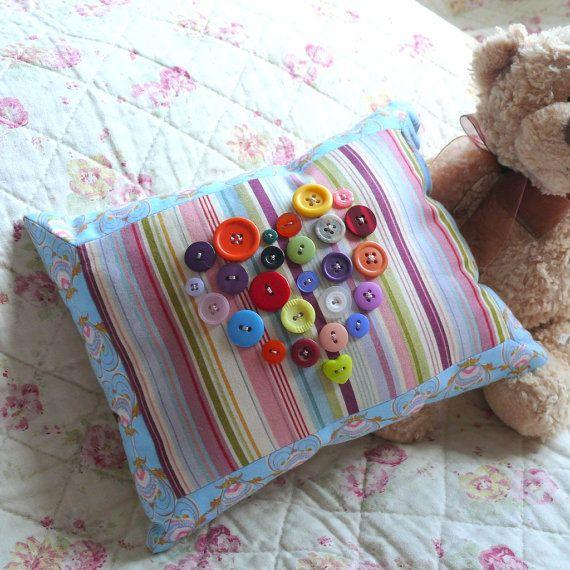Love Heart Button Cushion  Small 10 x 8 Inch by SticksStudio