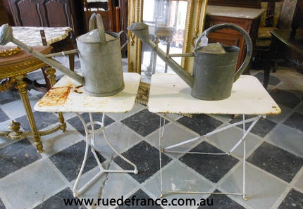 ANTIQUE FRENCH GARDEN TABLES & VINTAGE FRENCH WATERING CANS