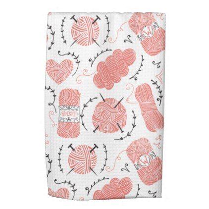 Knitting Yarn Pattern Pink Hand Towel - pattern sample design template diy cyo customize