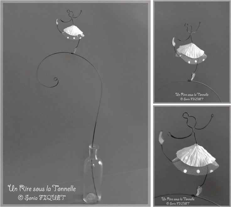 """Danseuse en fil de fer, papier et tulle - """"Ballerina Solista"""" : Accessoires de maison par un-rire-sous-la-tonnelle"""