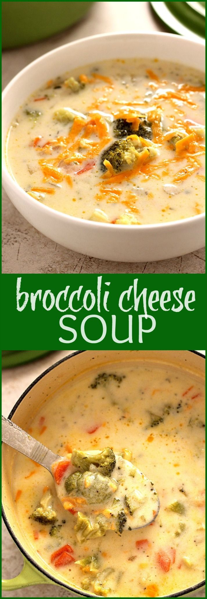 Broccoli Cheese Soup - make a Panera copycat in your own kitchen in under 30 minutes! This creamy and cheesy soup with broccoli florets will be a family favorite!