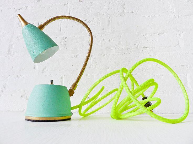 Vintage Lamp -: Vintage Lamps, Mint Green, Christmas Colour, Green Gooseneck, Neon Lamps, Colors Cords, Lamps Mint, Lamps Spring, Neon Yellow