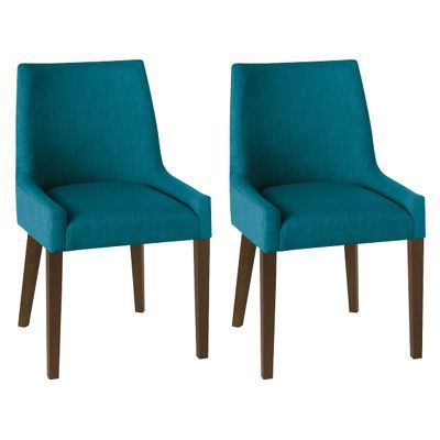Debenhams Pair of teal blue 'Ella' upholstered tub dining chairs with dark wood legs | Debenhams