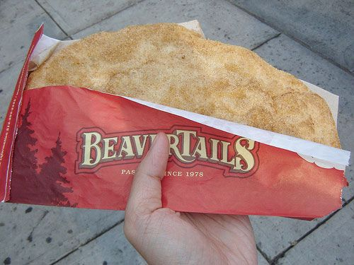 BeaverTails Pastry (Ottawa, Canada). 'Taking their name and distinctive shape from the oblong tail of Canada's official animal, these pastries start with balls of whole-wheat dough that are flattened and stretched until they resemble their namesake. They're quickly fried and served sizzling hot, sprinkled with a blend of cinnamon and sugar and – if you like – a squeeze of lemon.'