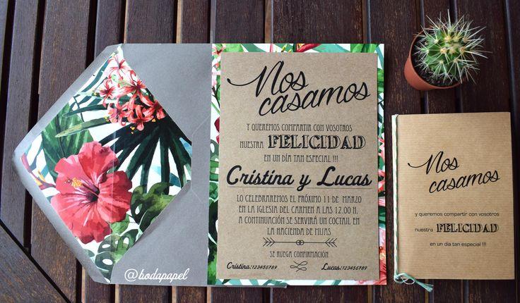 invitación de boda tropical, sobre forrado