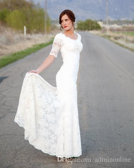 2016 romantic short sleeves wedding dresses lace v neck for Short modest wedding dresses