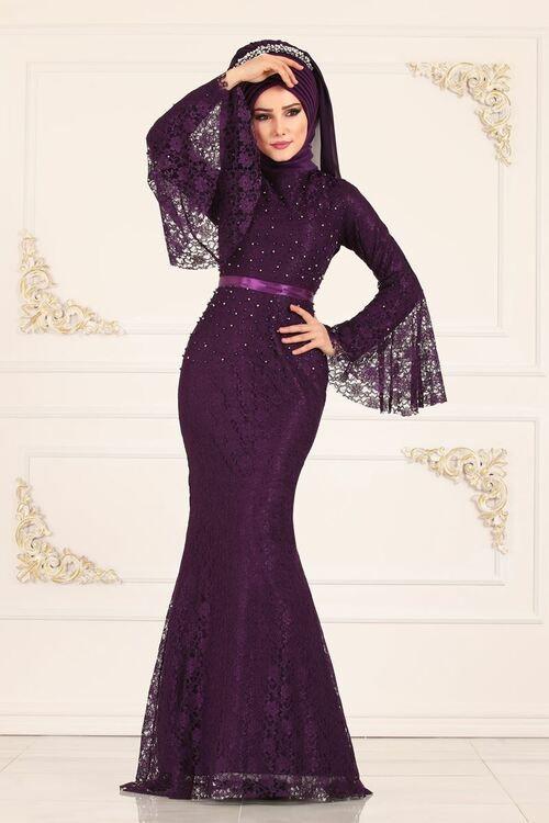 Modaselvim Abiye Volan Kol Balik Abiye 5120ay342 Mor Dresses Formal Dresses Mermaid Formal Dress