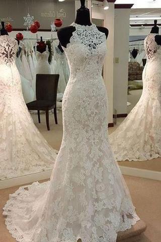 Jewel Neck Mermaid Lace Applique Sleeveless Wedding Dresses WD182 #weddinginspiration