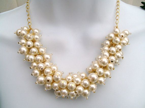 Set of 6  Chunky Pearl Beaded Necklace Bridal Jewelry by KIMMSMITH, $129.00