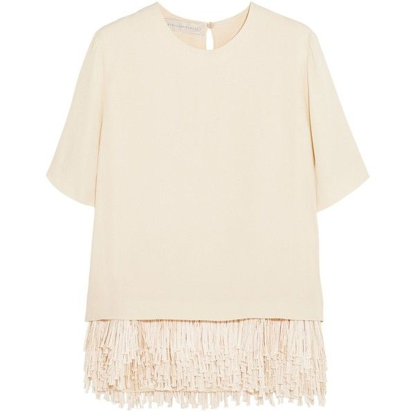 STELLA McCARTNEY   Honore fringed crepe top (21.480 ARS) ❤ liked on Polyvore featuring tops, crepe top, keyhole top, stella mccartney, pink top and key hole top