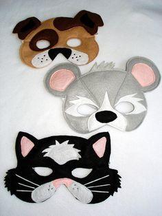 Children's DOG CAT and MOUSE Animal Felt Mask by magicalattic