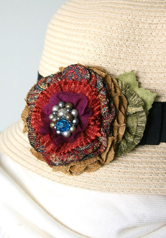 Beautiful colors in this fabric flower pin by Rosy Posy Designs...love the vintage beaded jewel centerpiece.