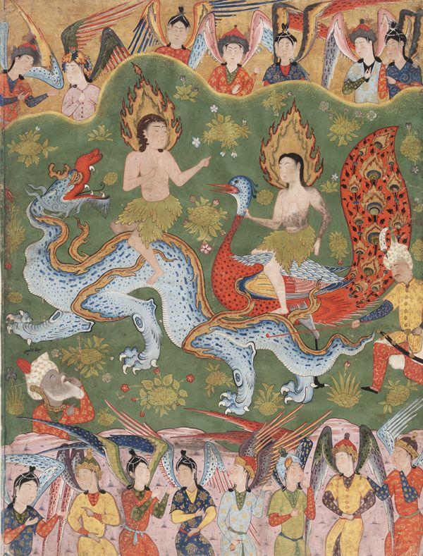 Arts of the Islamic World   Folio from a Falnama (Book of omens); verso: Expulsion of Adam and Eve; recto: text   S1986.251