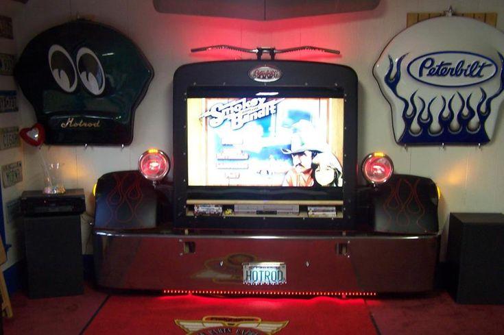 Man Cave Car Furniture : Semi truck tv surround repuposed automotive