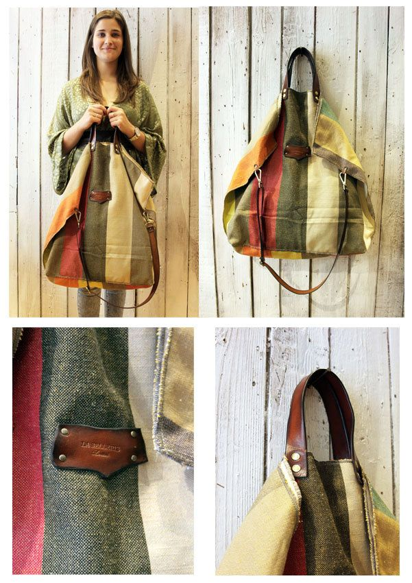 ALLEGRA BAG Handmade grooved cotton & Leather Shopping bag\tote di LaSellerieLimited su Etsy