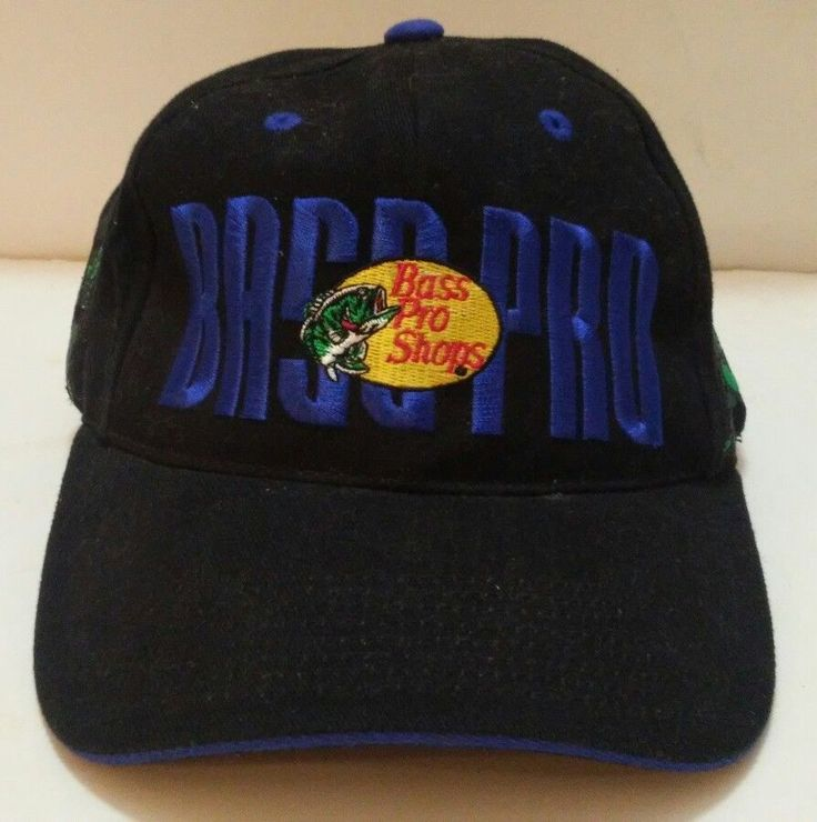Bass Pro Shops Hat Cap Embroidered Fish Lure Letters Black Blue Green Adjustable | eBay