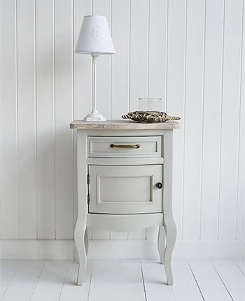 Bridgeport grey lamp table with cupboard - living, hall and bedroom grey furniture. The White Lighthouse offers side tables in our unique style bring together Cottage, New England, French and Coastal Styles