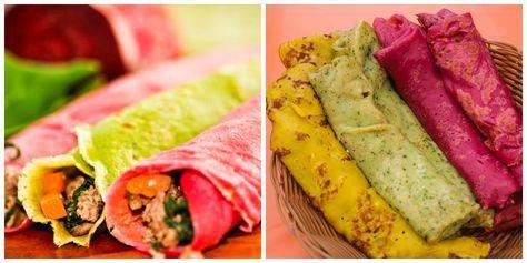 Cenoura, beterraba, abóbora, espinafre e até maçã para fazer um arco-íris de panquecas lúdicas e saudáveis. Aprenda as receitas!